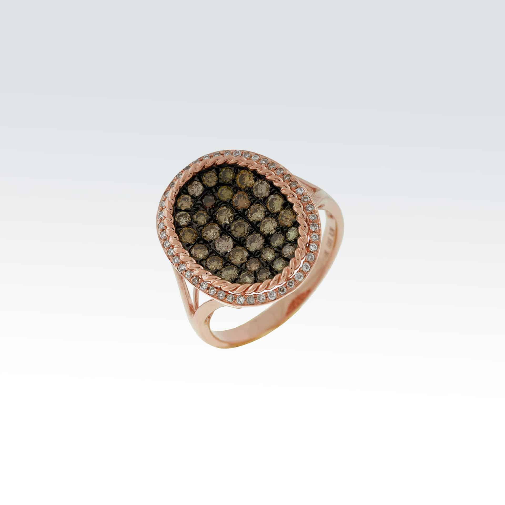 Rose Gold Diamond & Mocha Ring><h2 class=