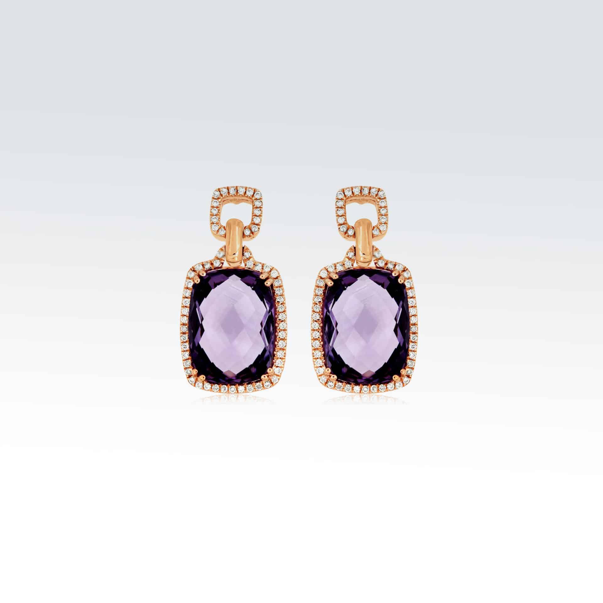 Rose Gold Diamond & Amethyst Earrings><h2 class=