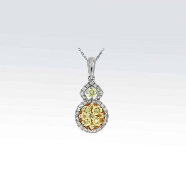 Diamond pendants archives elie jewelry design white gold diamond yellow diamond pendant mozeypictures Images