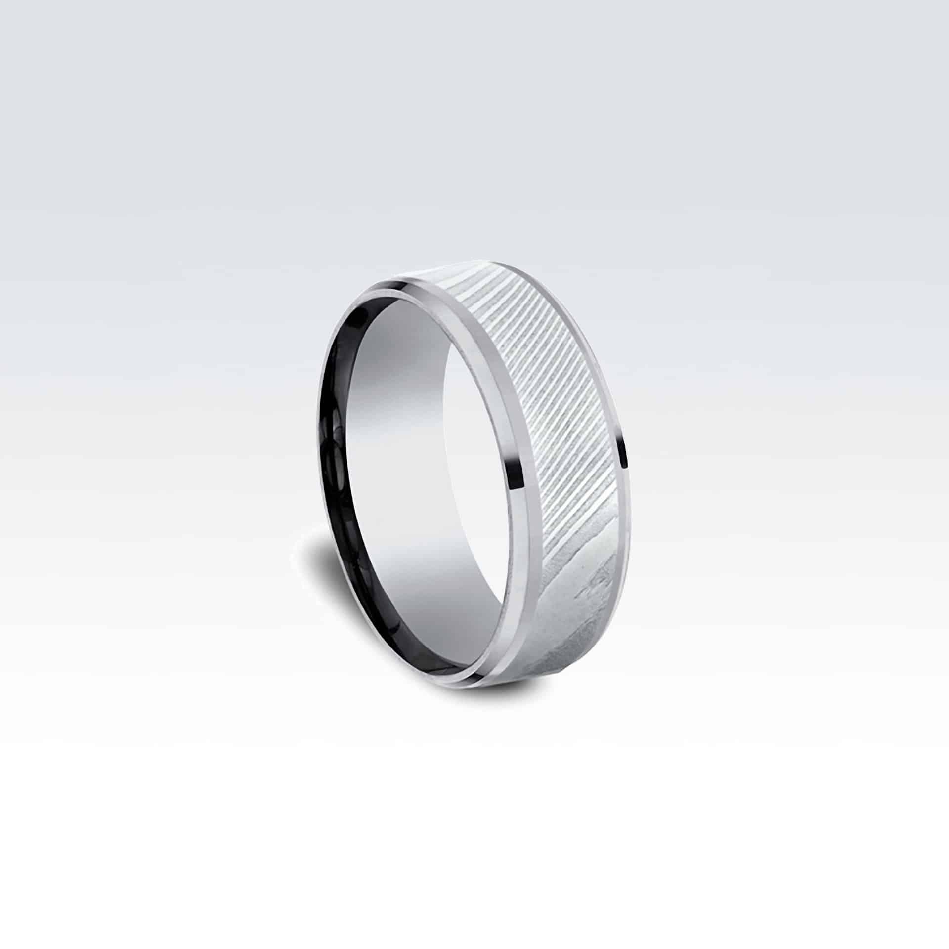 TANTALUM & DAMASCUS STEEL COMFORT-FIT DESIGN RING | Elie Design