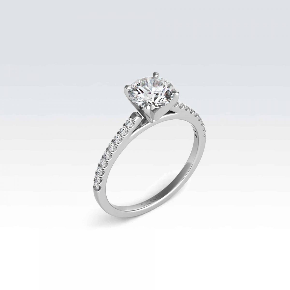 14karat white engagement ring with diamonds