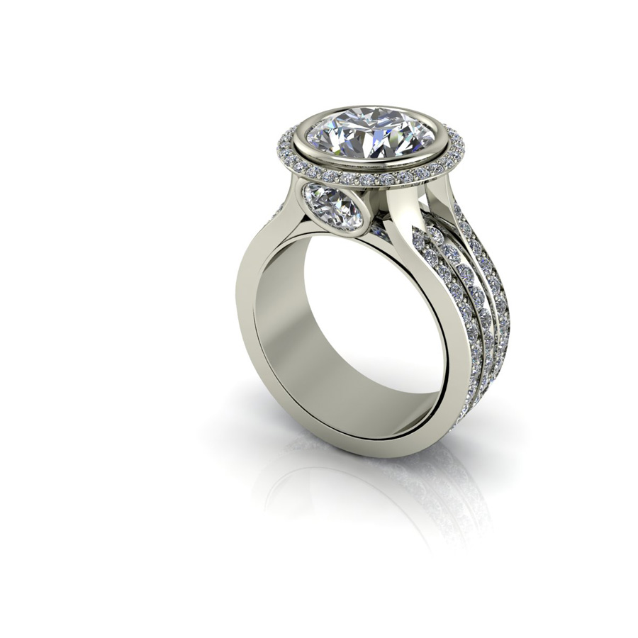 1ct Diamond ring with spinning center band