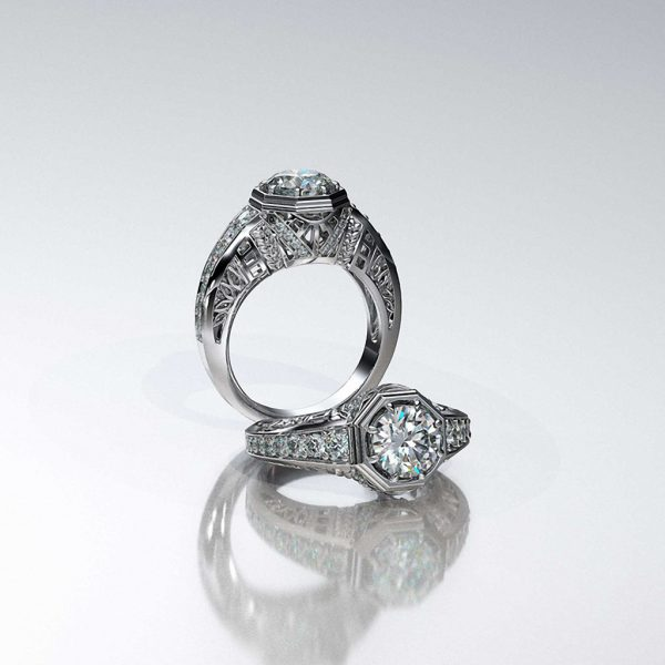 Vintage Style Custom ring with Diamonds