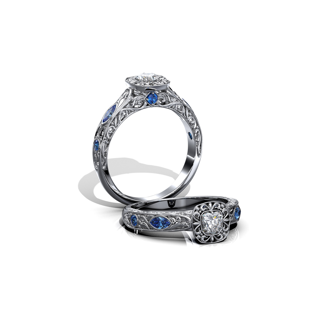 14karat-vintage-style-Ring-with-Sapphires-and-Diamonds