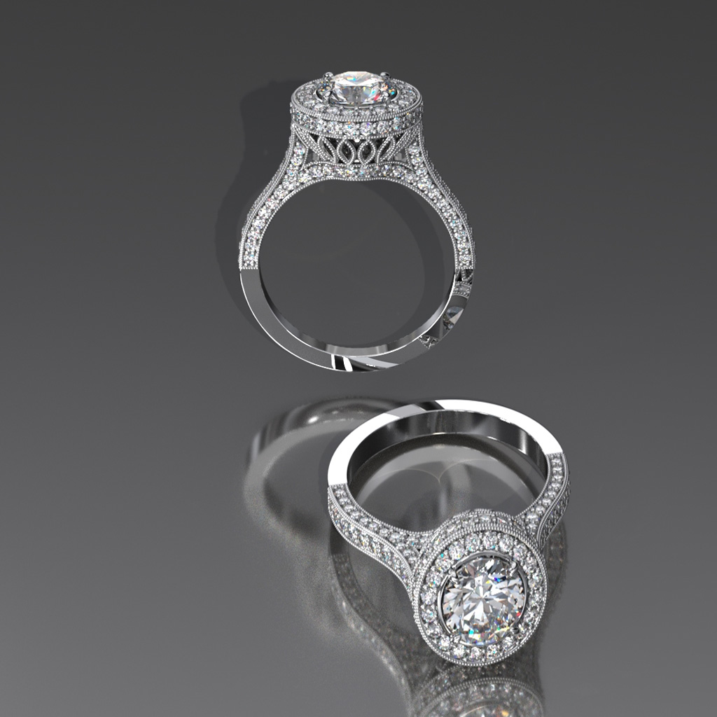 18 KW Diamond ring in elegant vintage style with with Halo><h2 class=