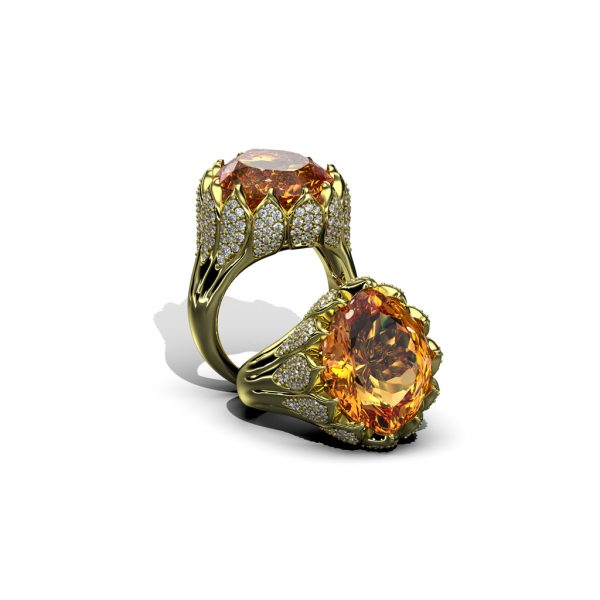 18 Karat yellow Gold ring with citrine and Diamonds