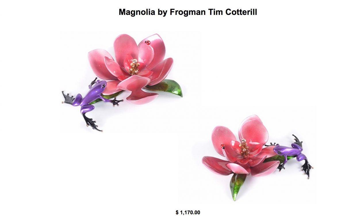 Magnolia Frog Sculpture Tim Cotteril